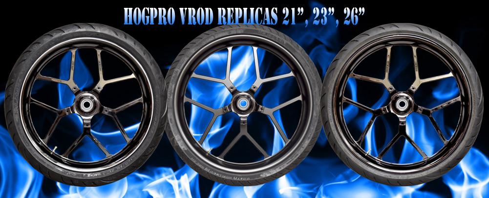 Hogpro - Chrome Harley Wheels - Black Custom Motorcycle Rims